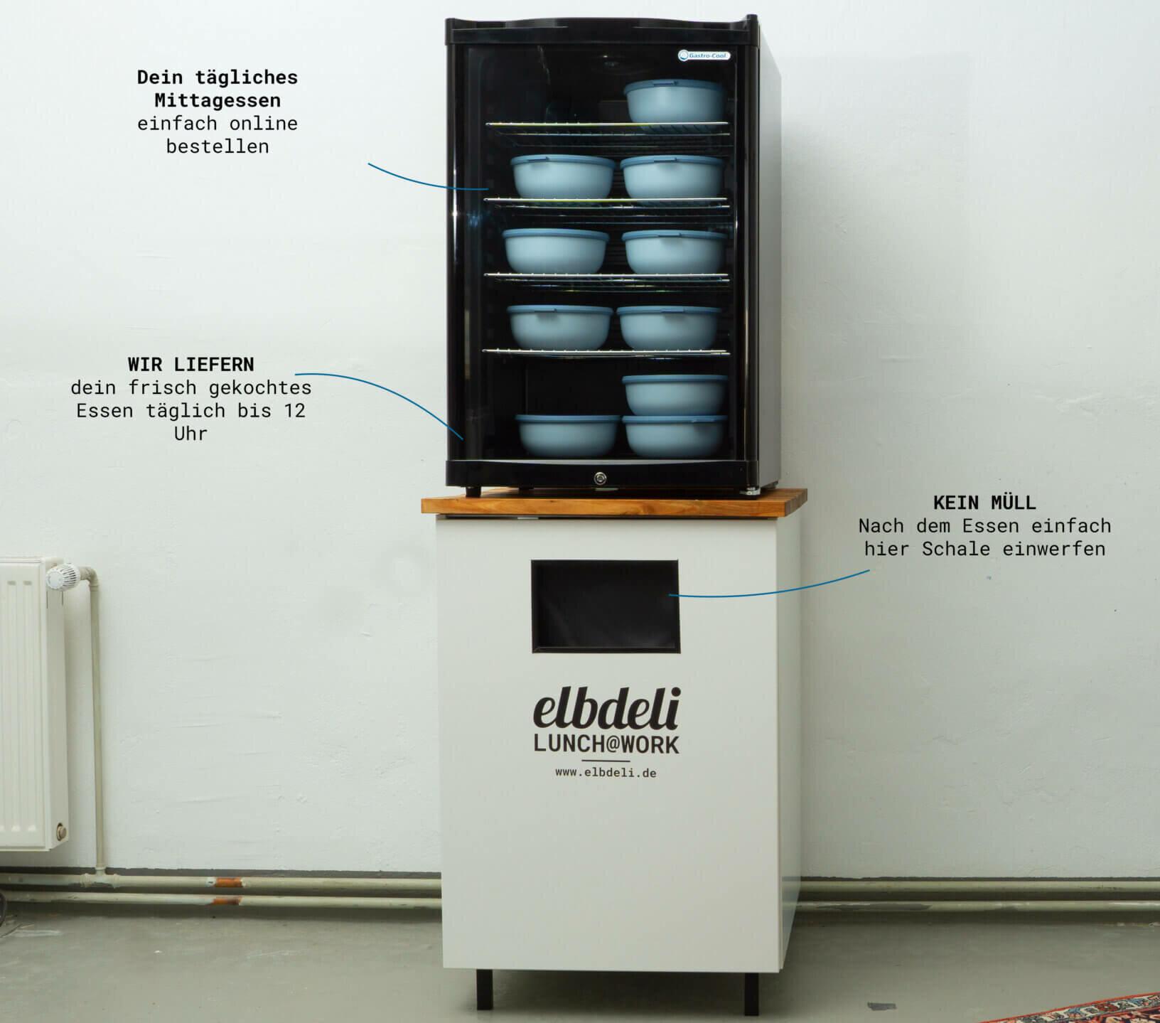 lunch@work - Kühlschrank und Rückgabebox